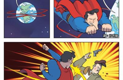 漫画:简易版蝙蝠侠大战超人